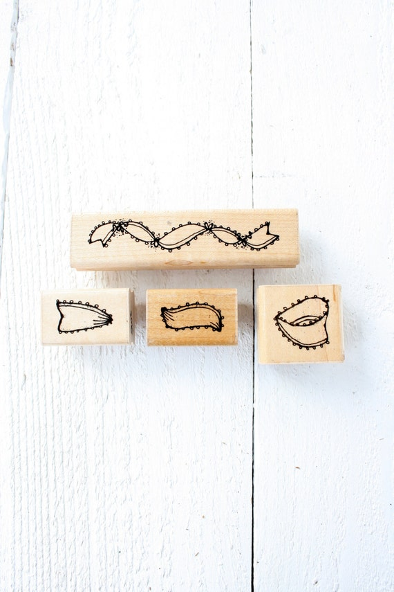 Vintage Ribbon & Bow Rubber Stamp Set of Four