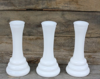 Vintage Trio of Milk Glass Vases
