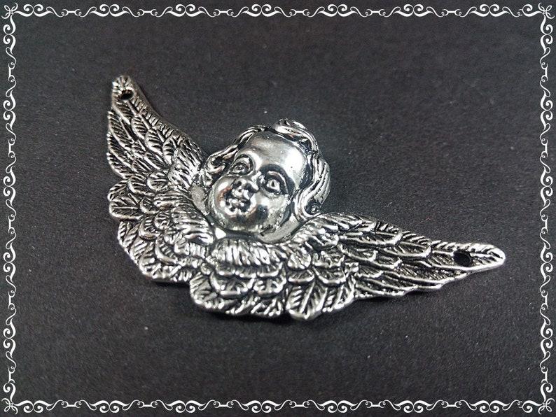 1 Link Angel 50x23x6mm Silver Antiquelook Pendant Charm