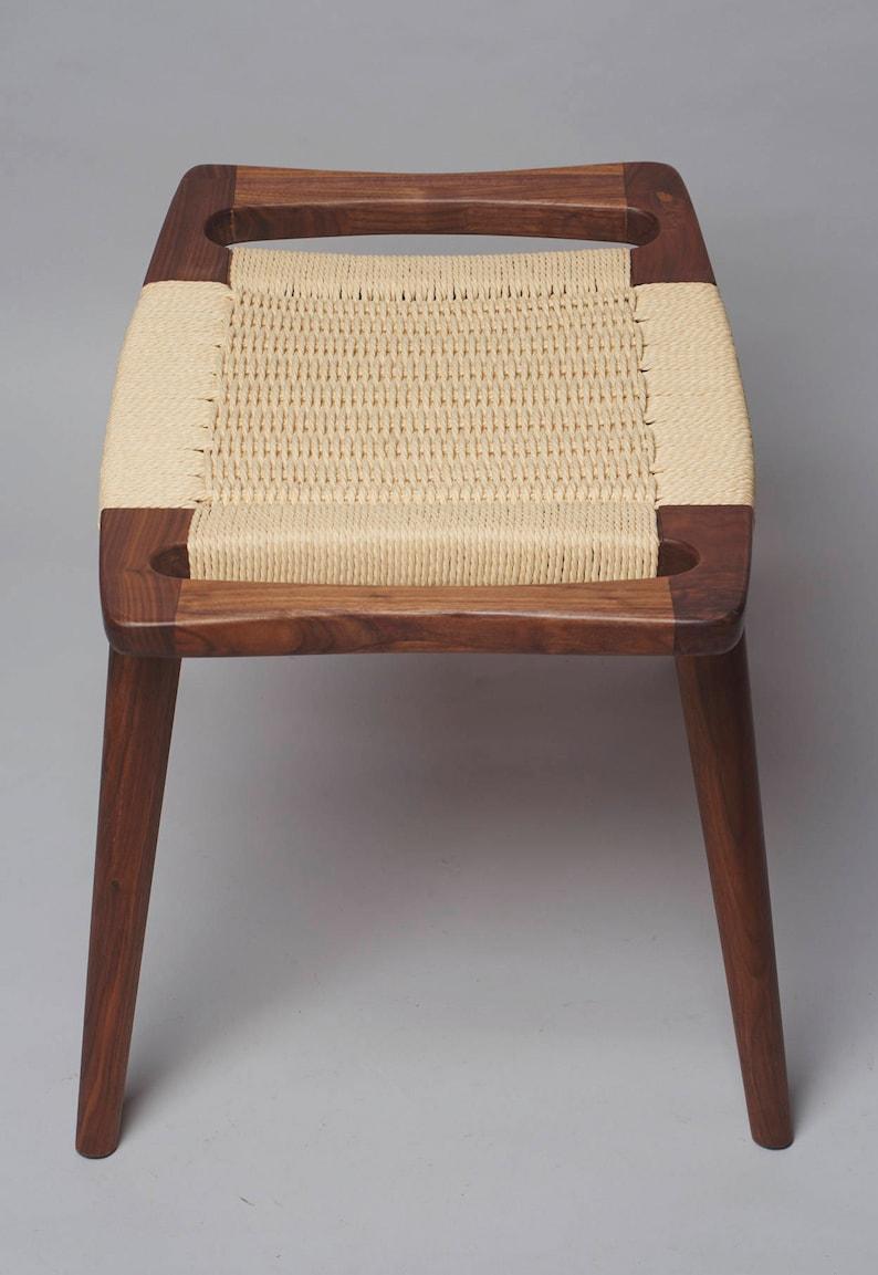 danish modern style foot stool  walnut wood
