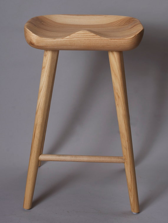 Cool Tractor Craved Ash Wood Bar Stool Bralicious Painted Fabric Chair Ideas Braliciousco