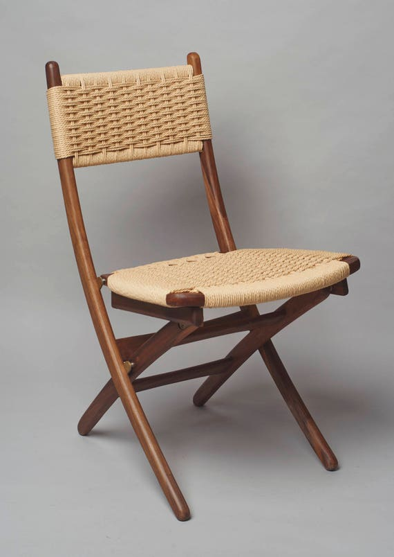 Enjoyable Hans Wegner Style Folding Rope Chair Walnut Wood Ocoug Best Dining Table And Chair Ideas Images Ocougorg