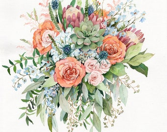 ORIGINAL Custom Wedding Bouquet Painting in Watercolor Bridal flowers portrait Anniversary gift for wife Bridesmaids Valentines romantic