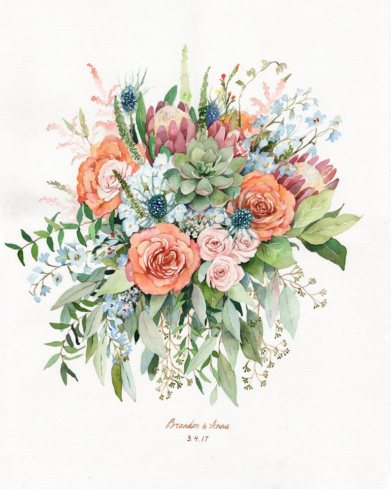 ORIGINAL Custom Bridal Bouquet Painting in Watercolor Wedding image 0