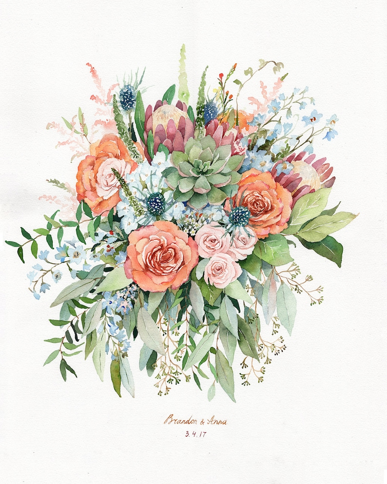 ORIGINAL Custom Wedding Bouquet Painting in Watercolor Bridal image 0