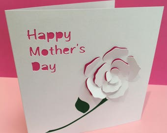 Mothers day card button flowers greeting card for mum etsy mothers day card paper cut rose personalised card paper cut flower greeting card mothering sunday card for mum mothers day card m4hsunfo