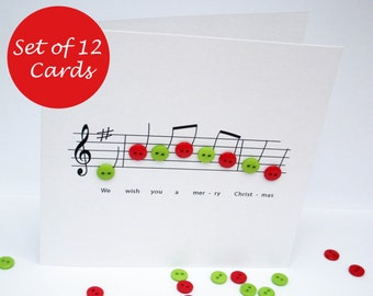 Christmas card set pack of 4 cards christmas music button etsy christmas card set pack of 12 christmas cards christmas music with button notes religious card handmade greeting card holiday card m4hsunfo
