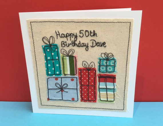 Personalised birthday card machine embroidered birthday etsy image 0 m4hsunfo