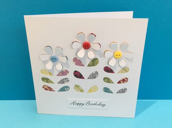 Birthday Card Mothers Day Buttons Flower