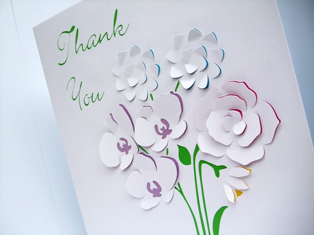 Large Personalised Card With Paper Cut Flowers Teachers Thank You
