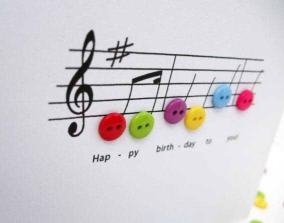 Happy Birthday Music Card Birthday Card With Button Notes Etsy