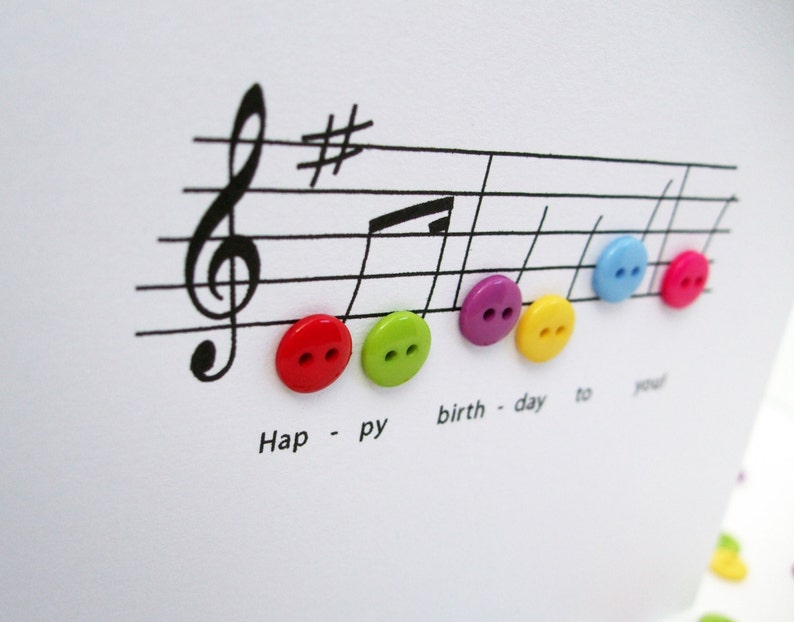 Happy Birthday Music Card With Button Notes
