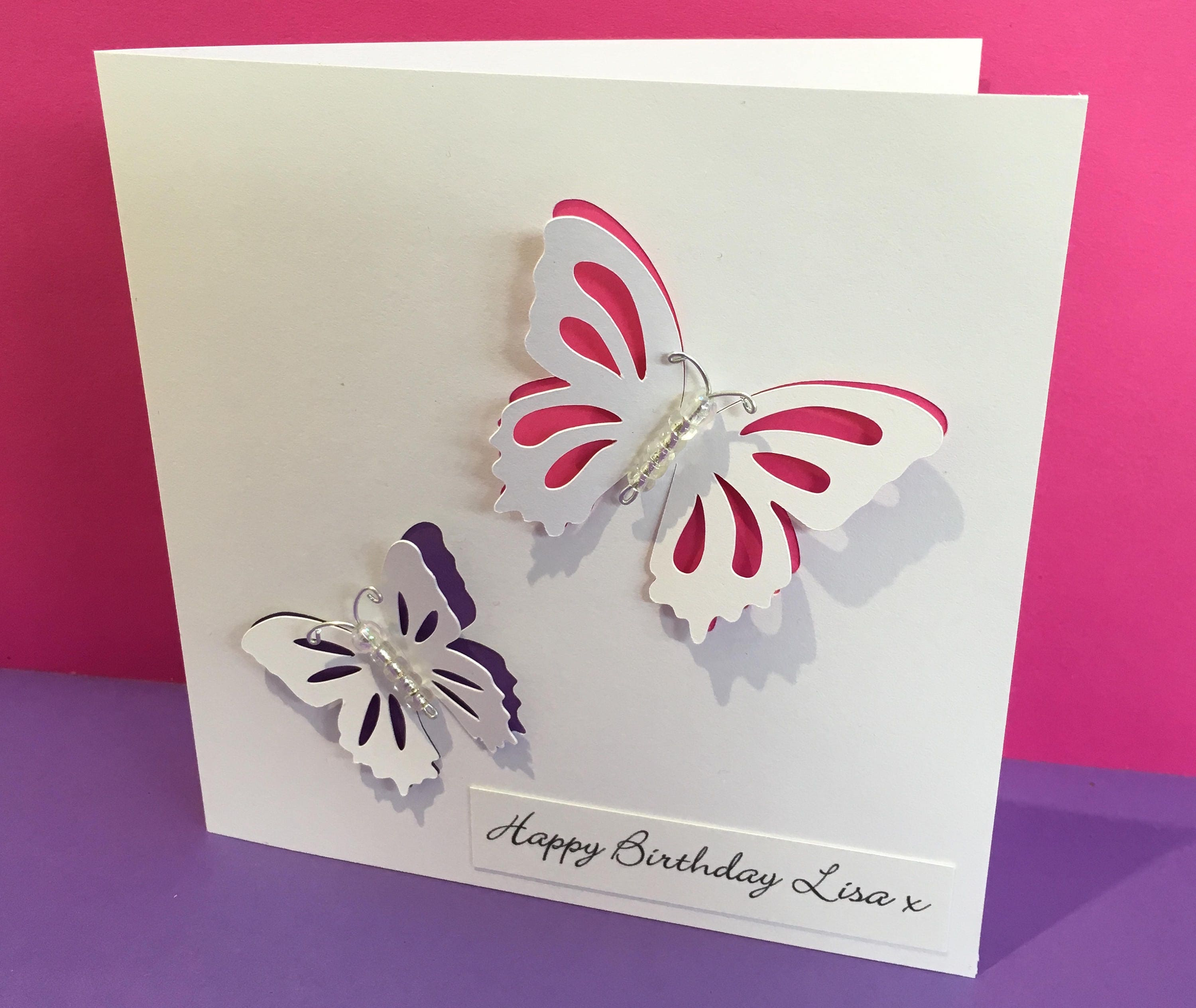 PERSONALISED HANDCRAFTED BIRTHDAY//GREETING CARD BUTTERFLIES FOR MUM//SISTER//WIFE