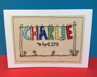 Large Personalised New Baby Card - Machine Embroidered Card - Handmade New Baby Girl or Boy - Greeting Card