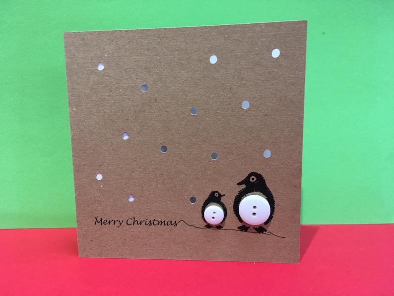 Weihnachtskarten Mit Knöpfen.Pinguin Weihnachtskarte Knopf Pinguine Mit Papier Schneiden Schnee Handgemachte Grußkarte Weihnachtskarte Set Packung Nette Karte
