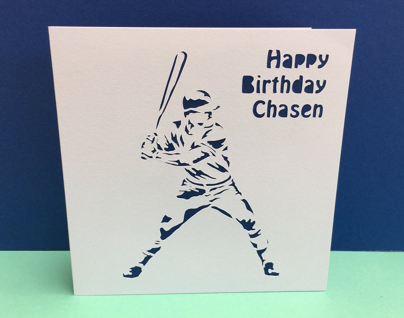 Baseball Birthday Card Baseball Player Sport Handmade Greeting Card For A Man Husband Son Boyfriend Paper Cut Personalised