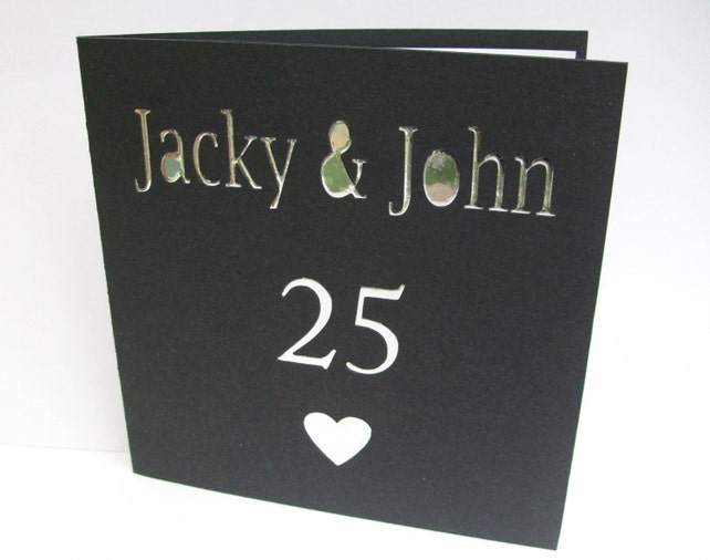 Wedding Anniversary Card - Personalised Anniversary Card - Greeting Card - Paper Cut Art - Silver Wedding - Golden Wedding - 50th, 25th