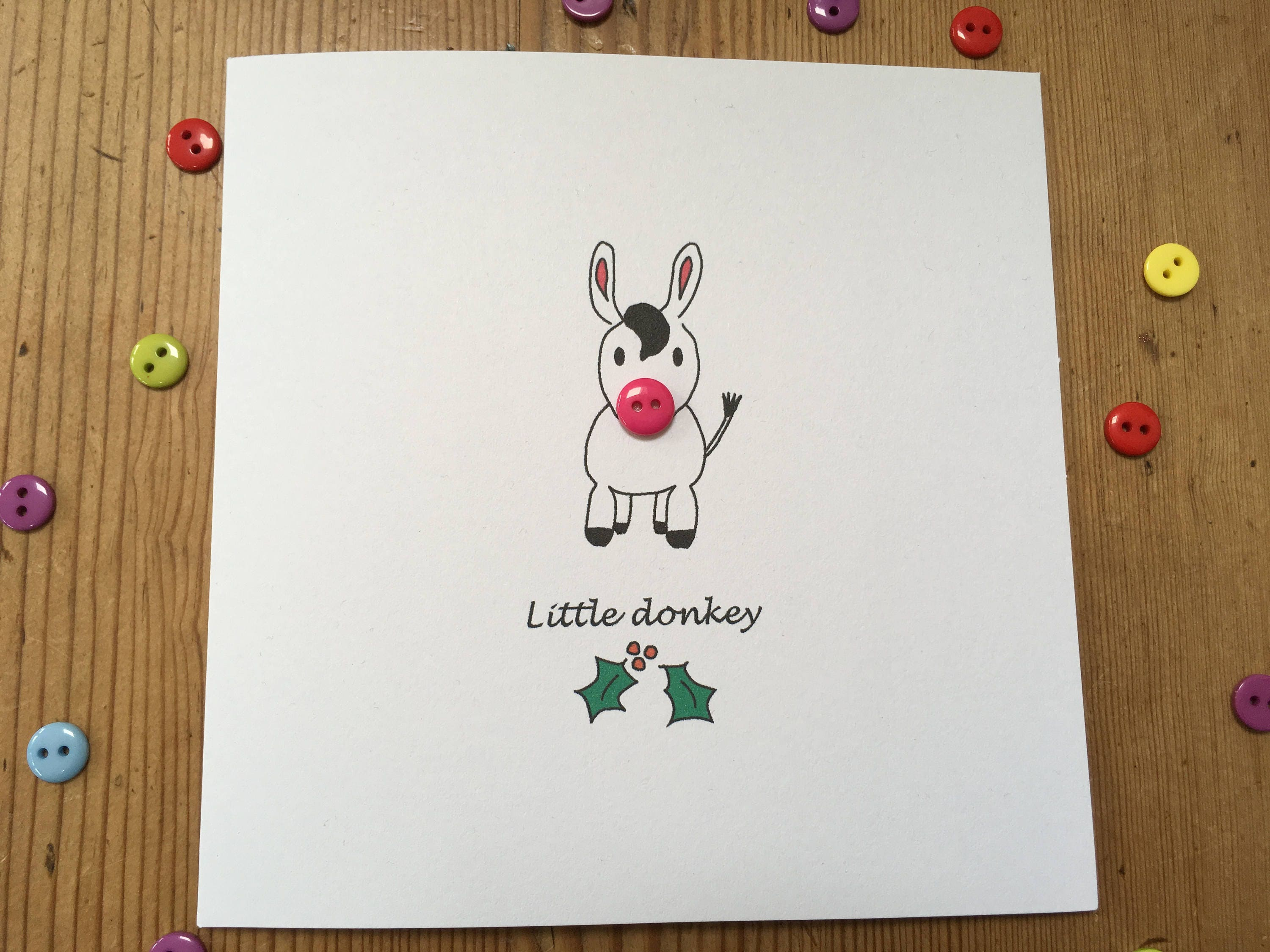 Christmas Card Little Donkey with Button Nose Paper | Etsy