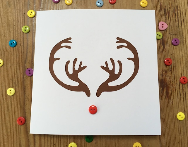 Christmas Card - Papercut Reindeer Antlers Card - Rudolph the Red Button Nose Reindeer Card - Handmade Greeting Card - Holiday Card - EtsyUK