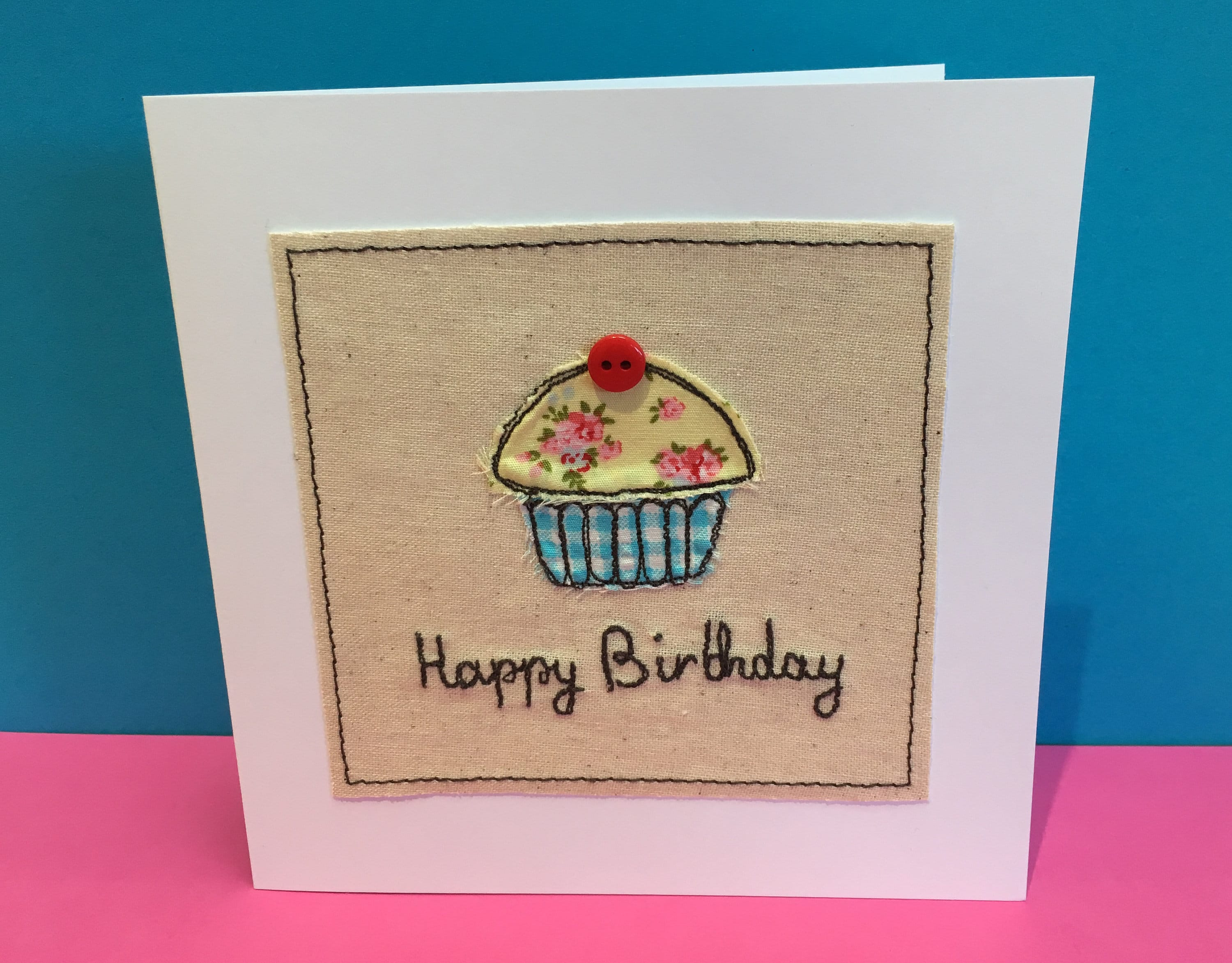 Cupcake Birthday Card Machine Embroidered Cupcake With Etsy