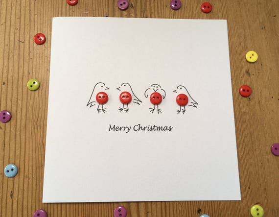 Christmas Card Cute Robins With Buttons Paper Handmade Etsy