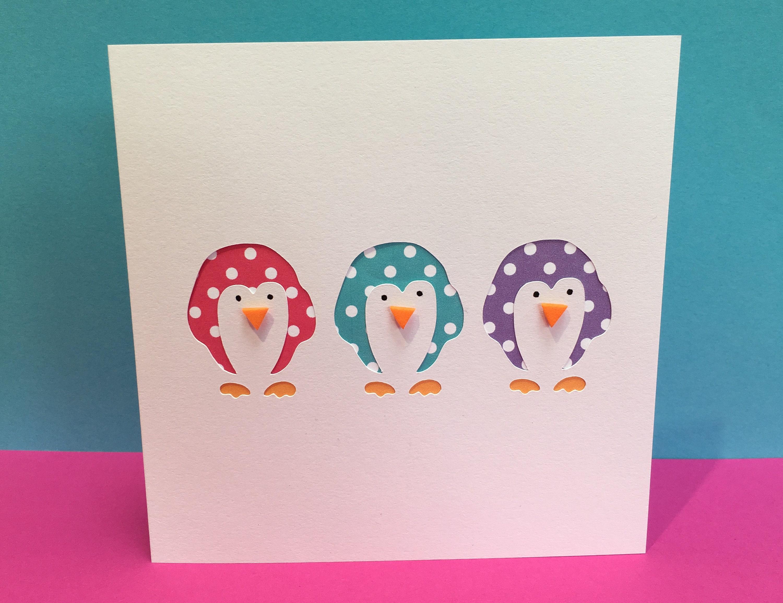 3 Little Penguins Card Handmade Greeting Card Birthday | Etsy