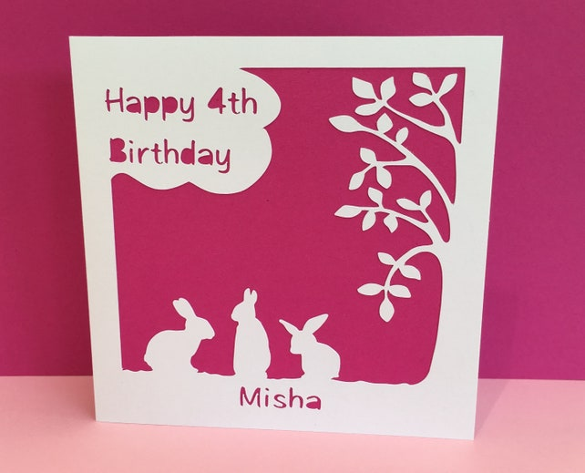 Personalised Birthday Card for a Child - Bunnies, Rabbits, paper cut, 1st, 2nd, 3rd, 4th, 5th, 6th, 7th, girl, boy, niece, nephew, daughter