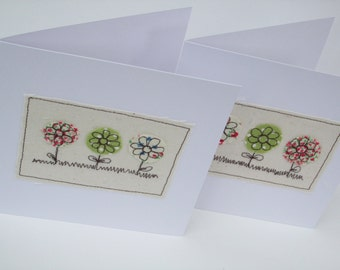 3 Little Flowers Card - Embroidered Flowers Card - Handmade Greeting Card