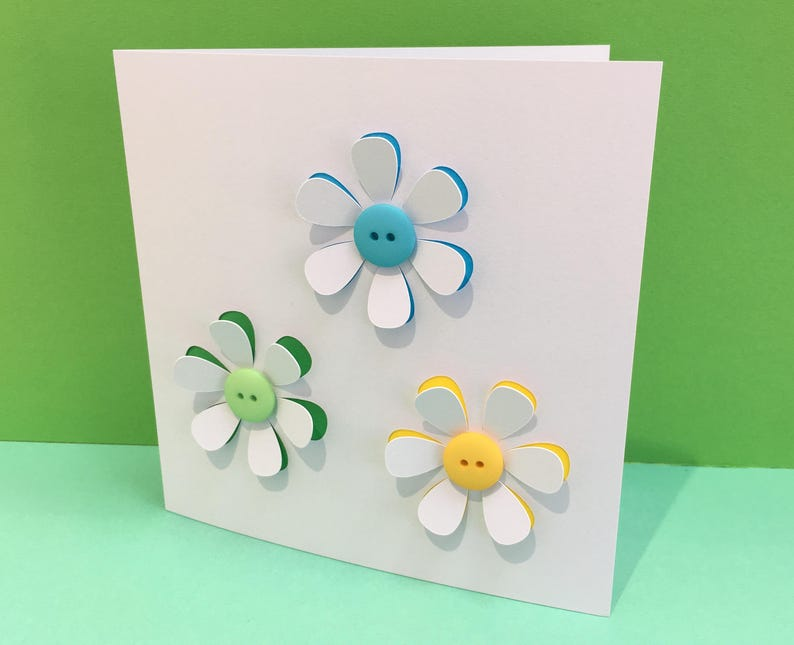 button flowers card handmade greeting card paper cut  etsy