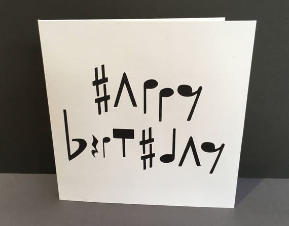 Music Birthday Card Paper Cut Card Musical Notes For Etsy
