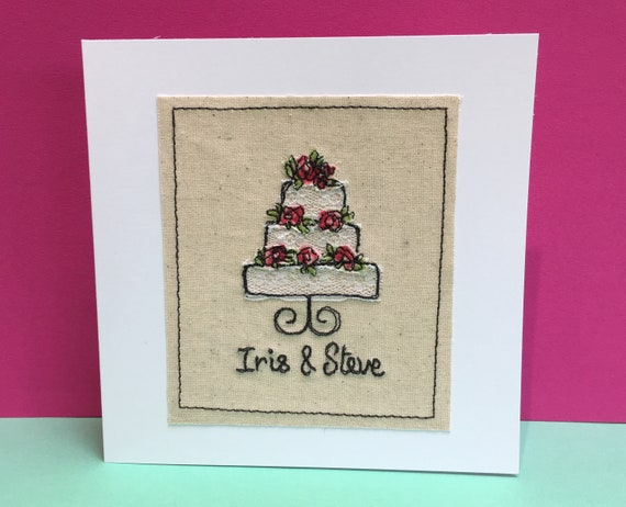 Personalised Wedding Card - Embroidered Wedding Cake - Shabby chic - Lace - Bride and Grooms names embroidered