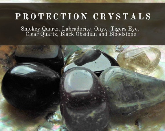 Crystal Protection Therapy, Ultimate Protection Crystals, 7  Protection Crystal Set, Protection Therapy Crystals