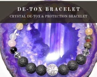 Detox Beaded Bracelet,  Gemstone Cleansing Bracelet, Adjustable Gemstone Bead Healing Bracelet