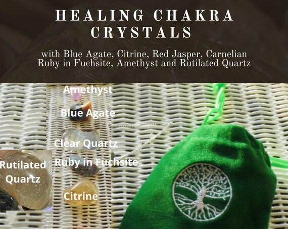 Healing Chakra Crystals, Crystals for Chakra Healing with Rutilated Quartz,  8 Chakra Crystals