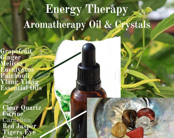 Energy Oils & Crystals,  Energy Boost Therapy, Essential Oils and Crystals for  Energy