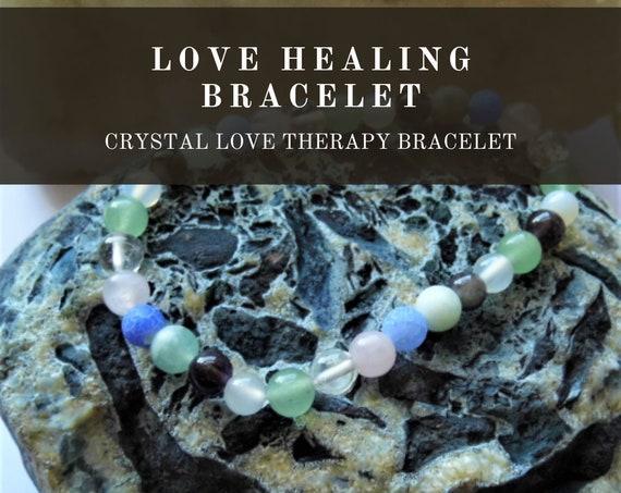 Love Healing Bracelet,  Crystal Healing Bracelet, Gemstone Bracelet, Crystal Therapy, Crystal Healing
