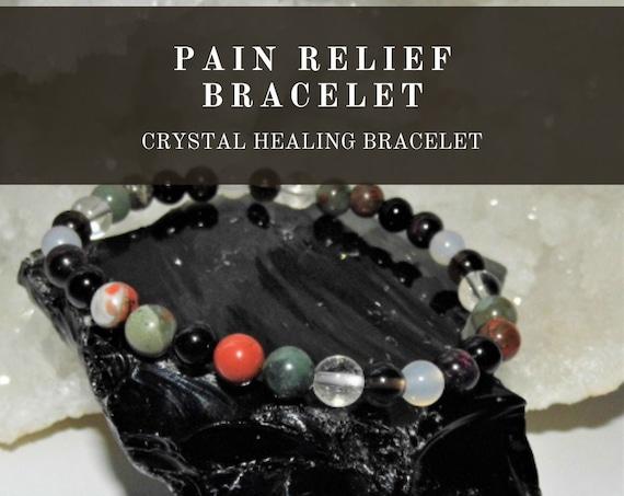 Crystal Pain Relief Bracelet,  Crystal  Healing Bracelet, Gemstone Bracelet, Crystal Therapy, Crystal Healing