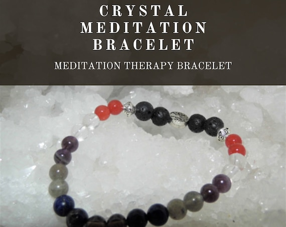 Meditation Therapy Bracelet,  Crystal Meditation Bracelet, Gemstone Bracelet, Meditating Therapy, Crystal Healing