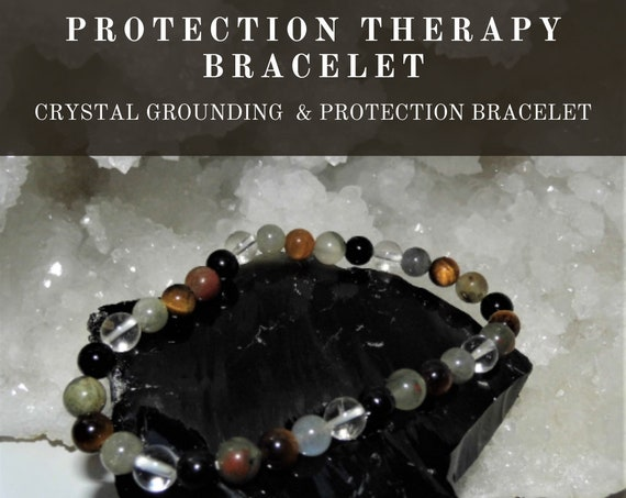 Crystal Protection Therapy Bracelet,   Healing Protection Bracelet, Gemstone Bracelet, Crystal Therapy, Crystal Healing
