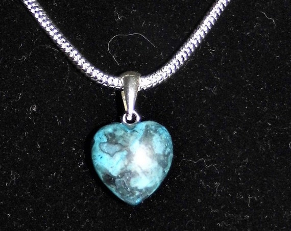 Blue Agate Heart Necklace, Agate Heart Pendant,  Blue Heart Necklace, Sterling Silver Necklace