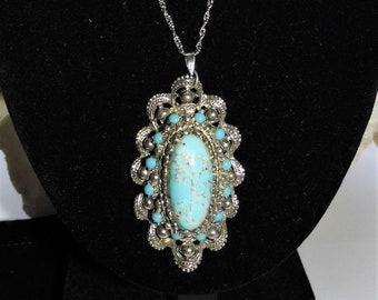 Large Turquoise Necklace, Blue and White Turquoise, Oval Turquoise,  Marcasite Pendant, Sterling Silver Necklace