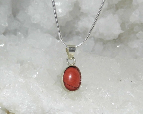 Red Jasper Oval Necklace,  Pendant Necklace, Gemstone Necklace, Sterling Silver Necklace, Crystals for Healing