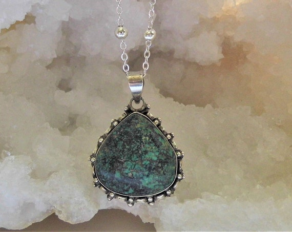 Turquoise Teardrop Necklace, Gemstone Necklace, Teardrop Pendant, Sterling Silver Necklace, Crystals for Healing