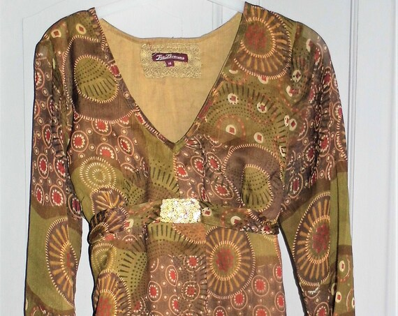 Joe Browns Blouse, Vintage Joe Browns, Brown Gold Blouse, Vintage Blouse Size 14