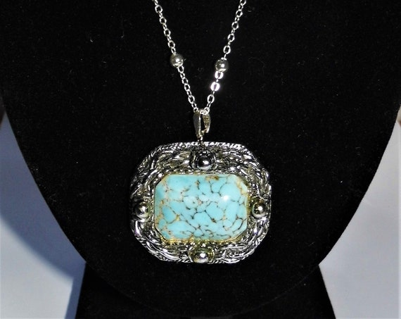 Turquoise Necklace, Duck Egg Turquoise Pendant, Sterling Silver Necklace, Turquoise Jewellery