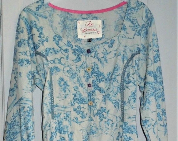 Joe Browns Cotton Top, Vintage Joe Browns,  Blue Cotton Blouse, Vintage Blouse Size 16