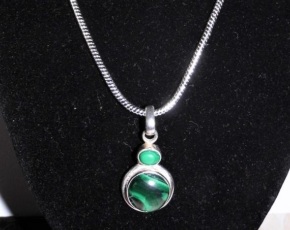 Double Malachite Necklace, Large Malachite Pendant, Round Malachite Pendant Necklace, Sterling Silver Necklace