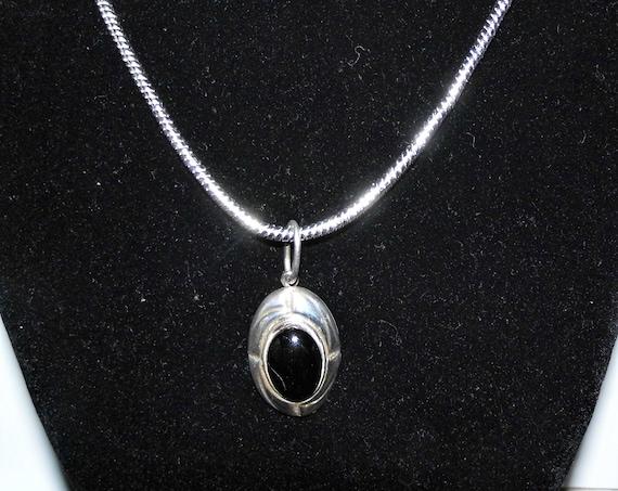 Black Obsidian Necklace, Black Obsidian Oval Pendant, Sterling Silver Necklace, Gemstone Necklace