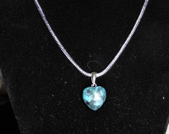 Blue Agate Heart Necklace, Puff Heart Pendant Necklace, Sterling Silver Necklace
