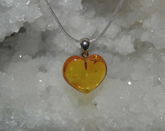 Baltic Amber Heart Necklace,   Amber and Sterling Silver Pendant Necklace,  Amber Heart Pendant, Love Gifts